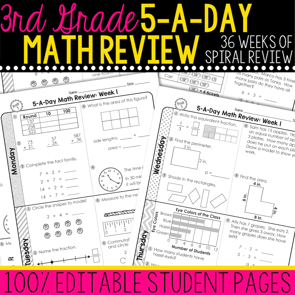 medium resolution of 3rd Grade Daily Math Spiral Review • Teacher Thrive