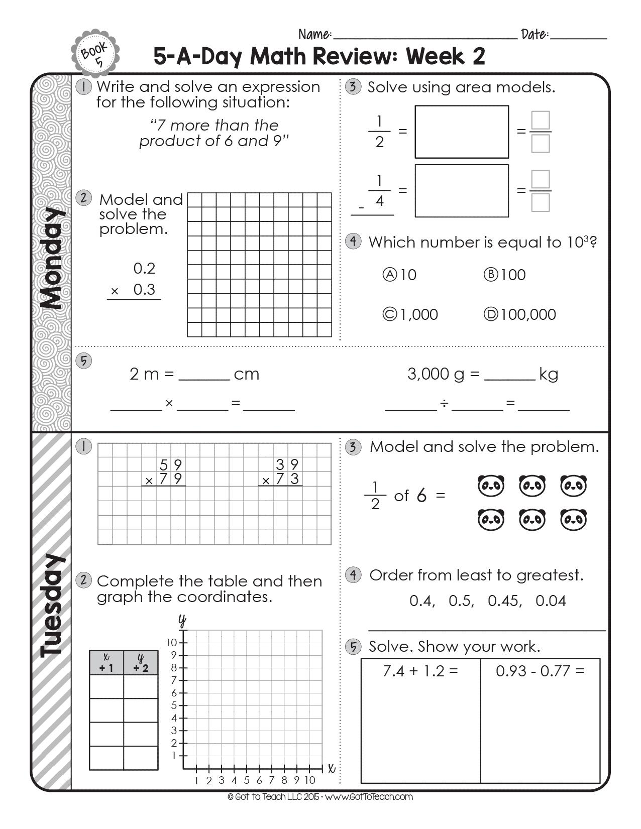 hight resolution of 5th Grade Daily Math Spiral Review • Teacher Thrive