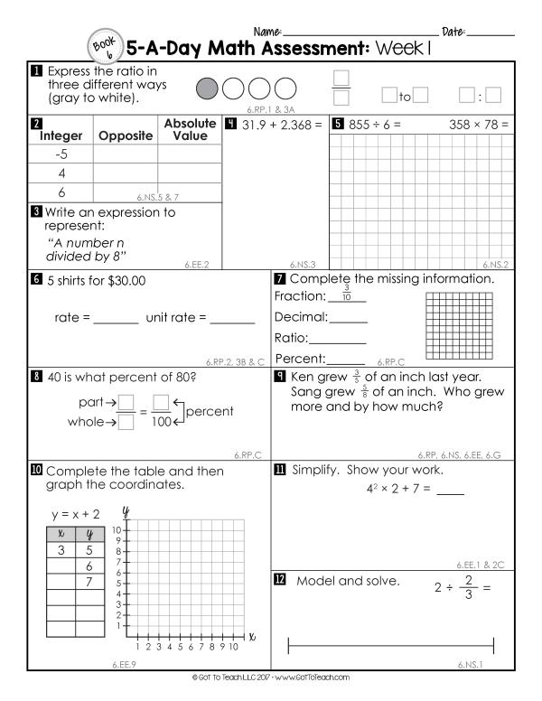 6th grade math assessments