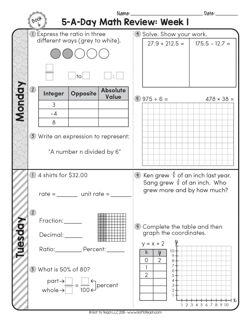 medium resolution of 6th Grade Daily Math Spiral Review • Teacher Thrive