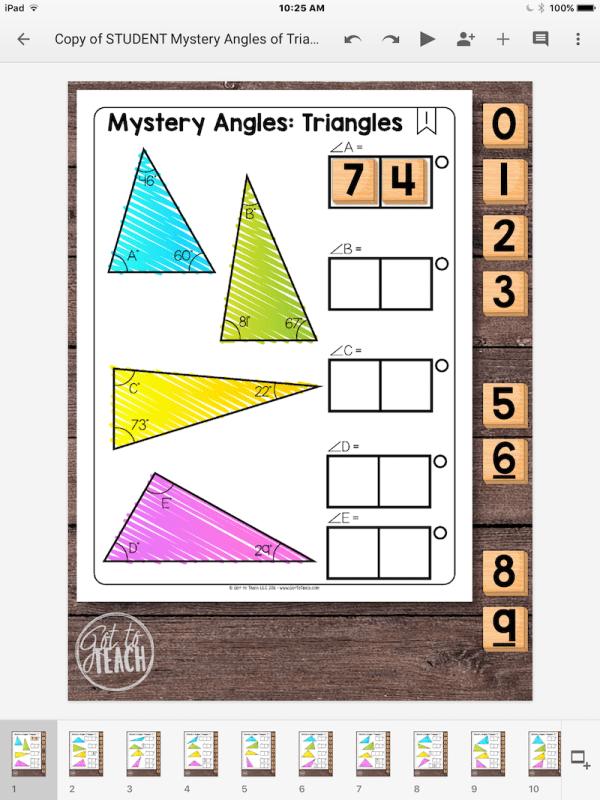 mystery angle triangles