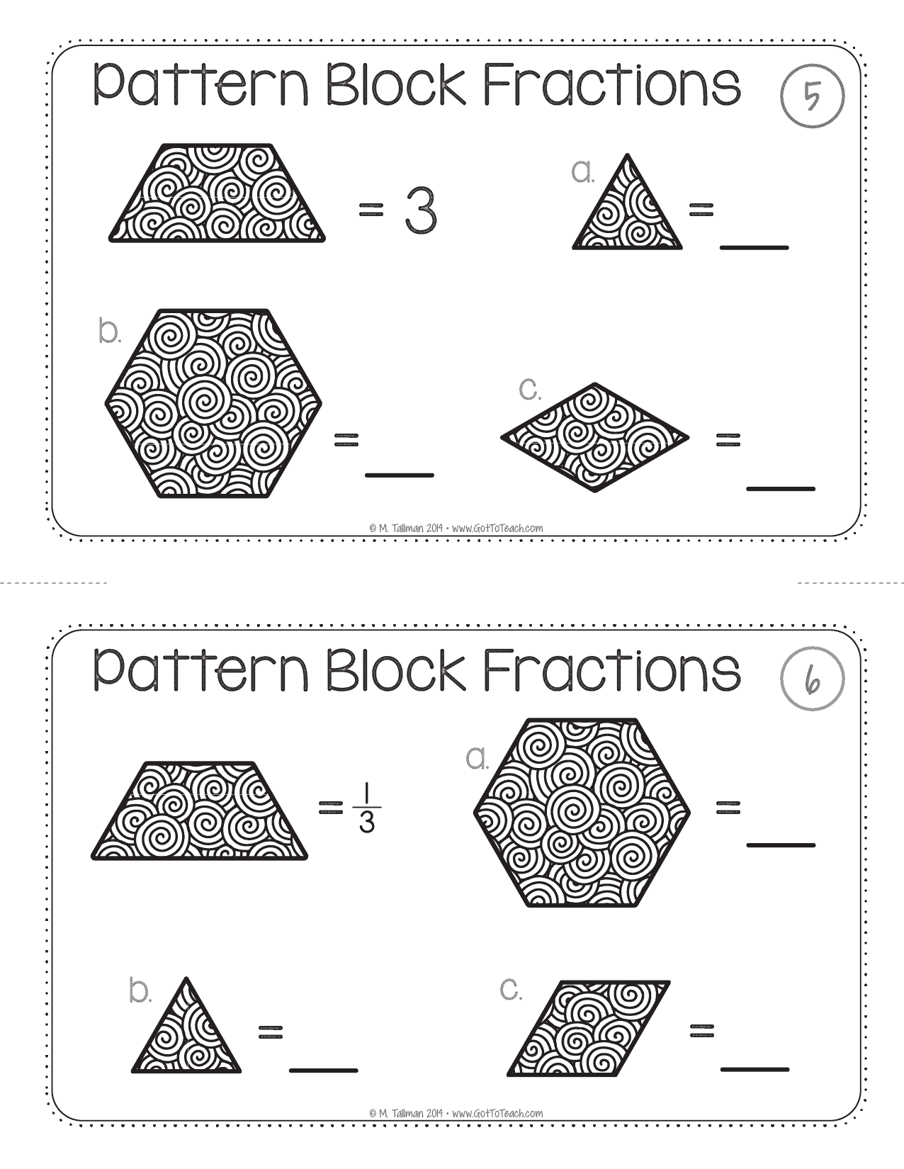 Pattern Block Fraction Task Cards Math Centers Teacher