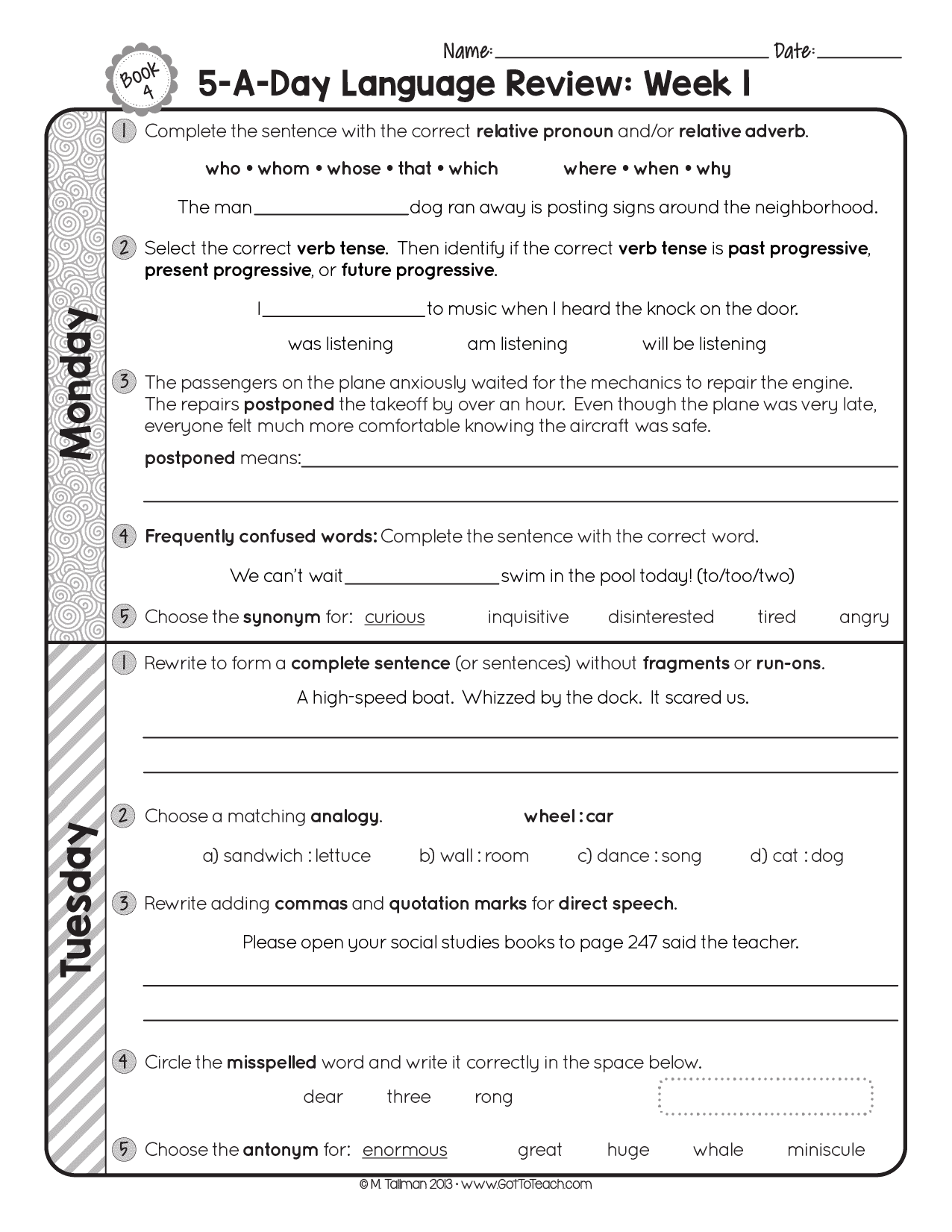 hight resolution of FREE 4th Grade Daily Language Spiral Review • Teacher Thrive