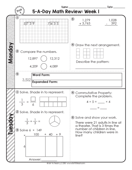 small resolution of FREE 4th Grade Daily Math Spiral Review • Teacher Thrive