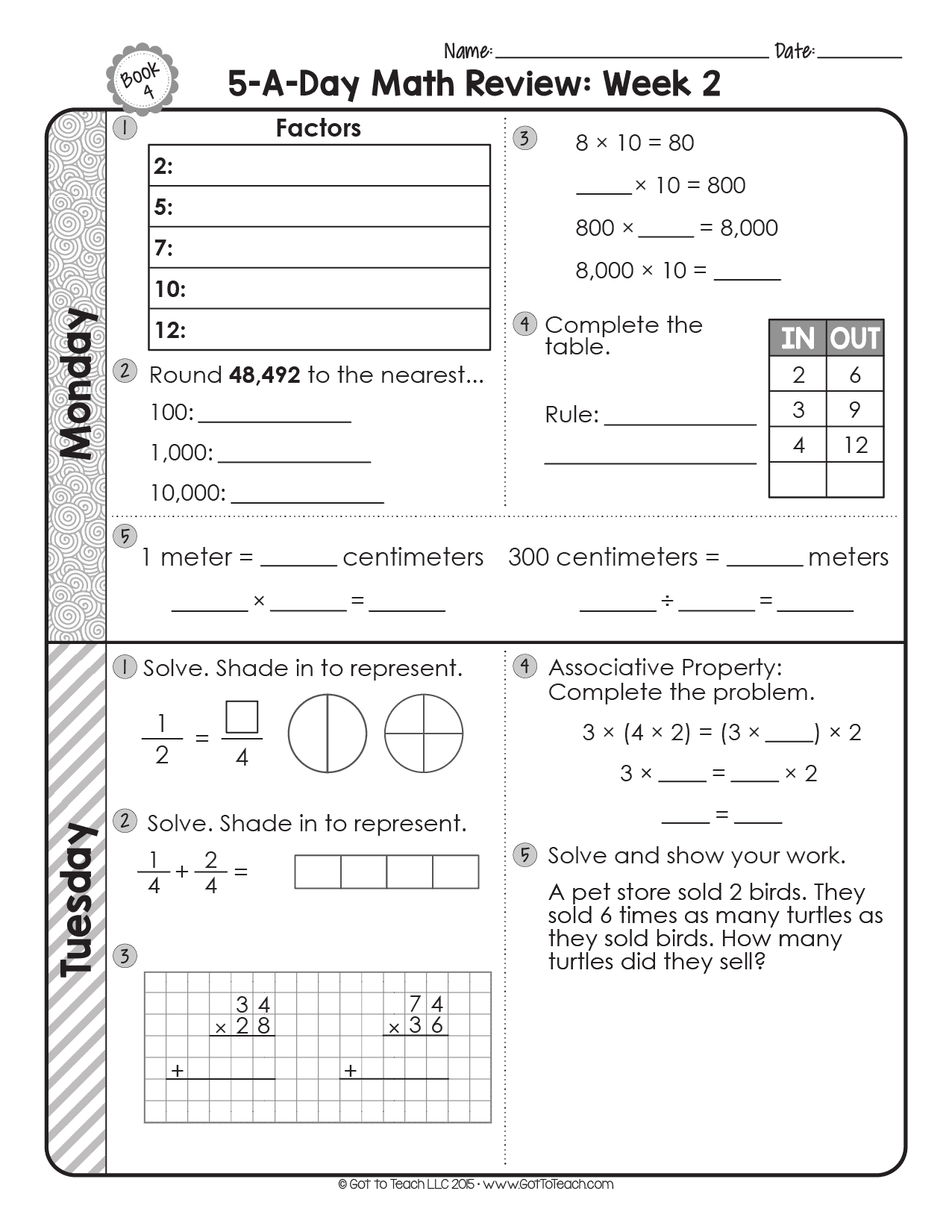 Free 4th Grade Daily Math Spiral Review Teacher Thrive
