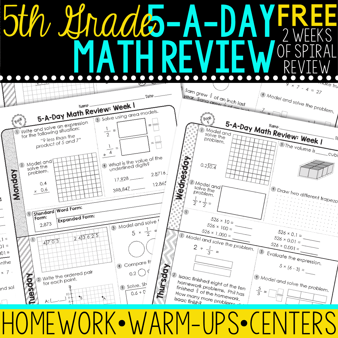 Free 5th Grade Daily Math Spiral Review Teacher Thrive