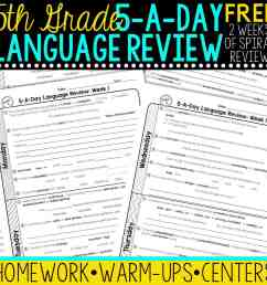 FREE 5th Grade Daily Language Spiral Review • Teacher Thrive [ 1276 x 1276 Pixel ]