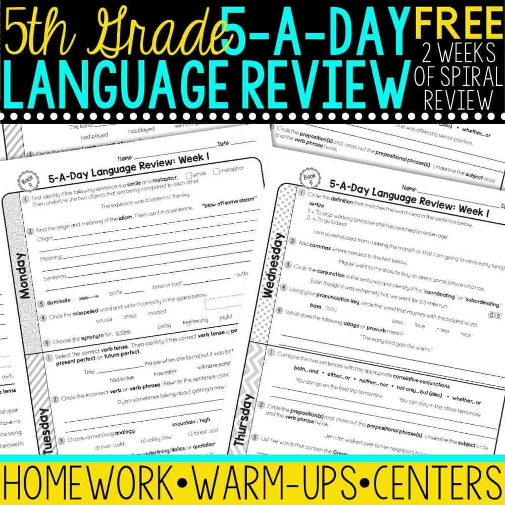 medium resolution of FREE 5th Grade Daily Language Spiral Review • Teacher Thrive