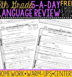 FREE 8th Grade Daily Language Spiral Review • Teacher Thrive [ 1276 x 1276 Pixel ]