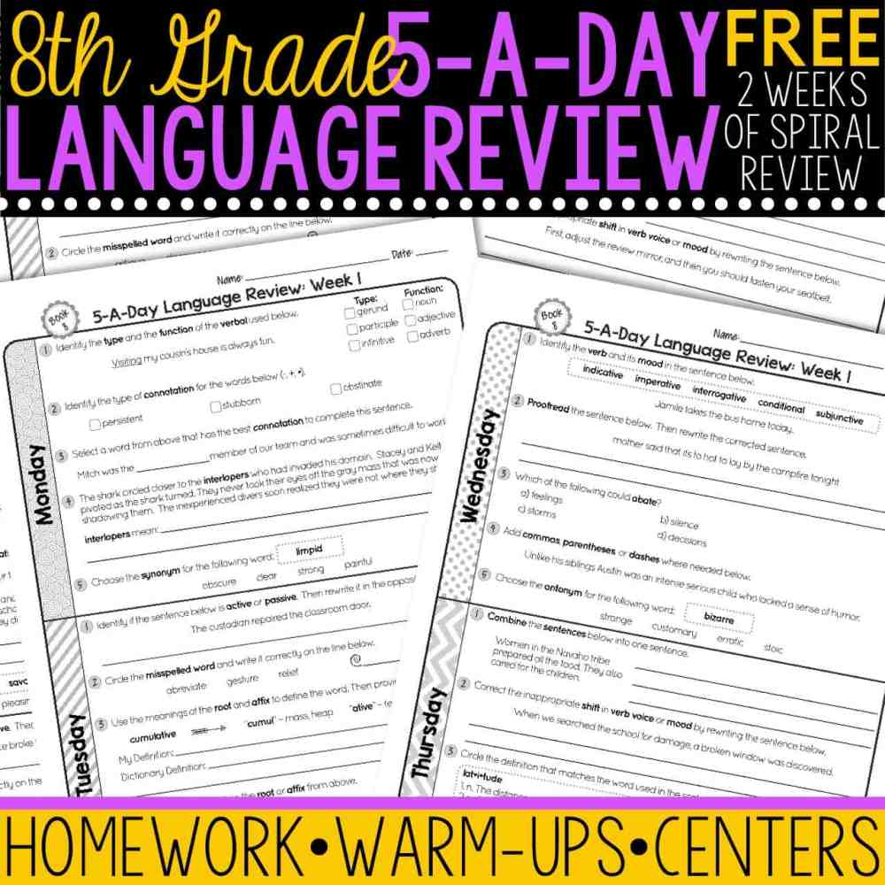 medium resolution of FREE 8th Grade Daily Language Spiral Review • Teacher Thrive