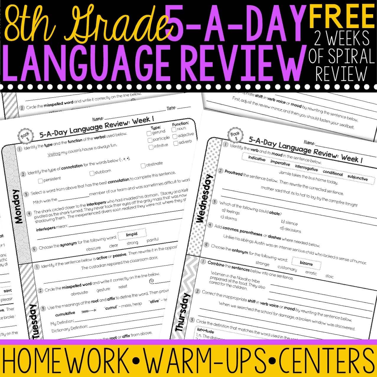hight resolution of FREE 8th Grade Daily Language Spiral Review • Teacher Thrive