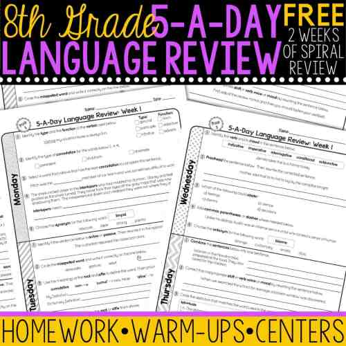 small resolution of FREE 8th Grade Daily Language Spiral Review • Teacher Thrive