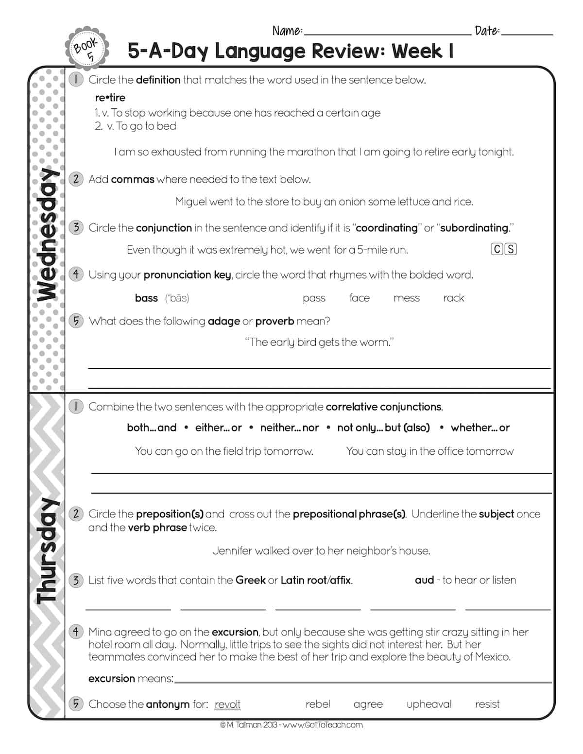 hight resolution of FREE 5th Grade Daily Language Spiral Review • Teacher Thrive