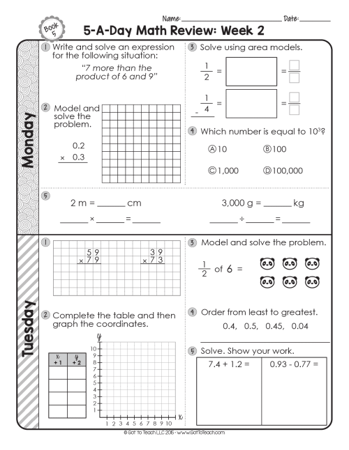 small resolution of FREE 5th Grade Daily Math Spiral Review • Teacher Thrive