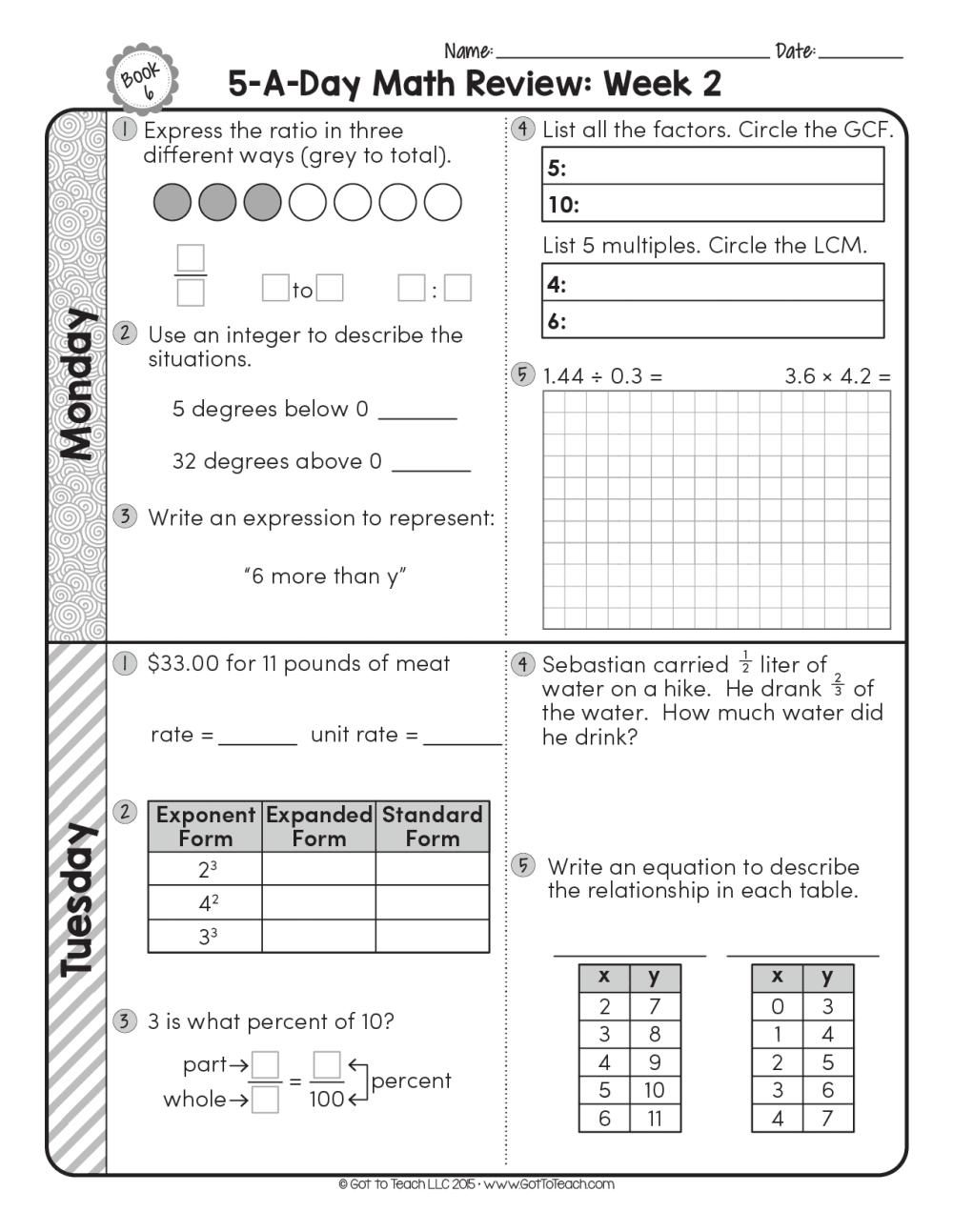 medium resolution of FREE 6th Grade Daily Math Spiral Review • Teacher Thrive