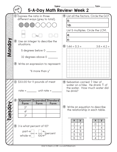 small resolution of FREE 6th Grade Daily Math Spiral Review • Teacher Thrive