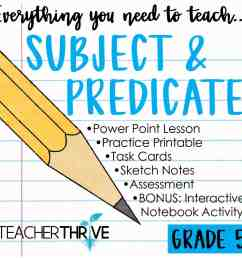 Fifth Grade Grammar: Subject and Predicate • Teacher Thrive [ 1276 x 1276 Pixel ]