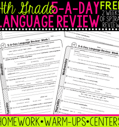 FREE 4th Grade Daily Language Spiral Review • Teacher Thrive [ 1276 x 1276 Pixel ]