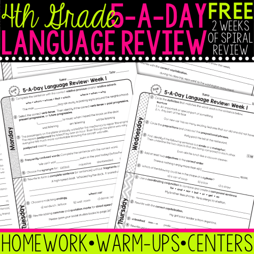 small resolution of FREE 4th Grade Daily Language Spiral Review • Teacher Thrive