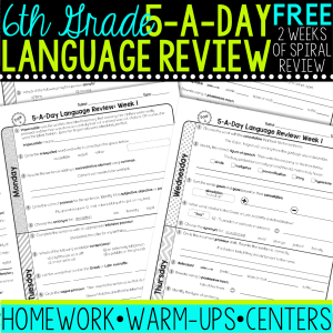 sixth grade daily language review