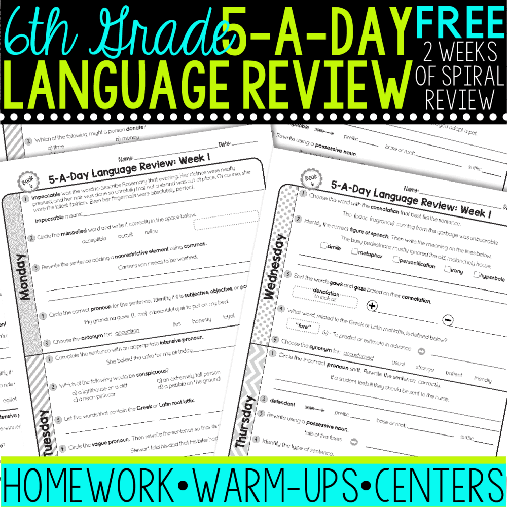 medium resolution of FREE 6th Grade Daily Language Spiral Review • Teacher Thrive