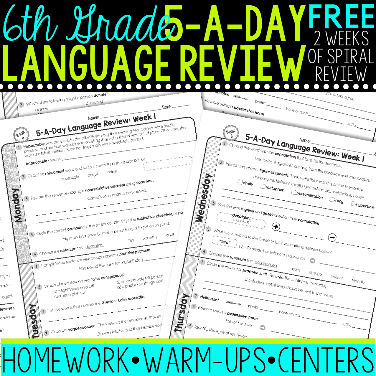 hight resolution of FREE 6th Grade Daily Language Spiral Review • Teacher Thrive