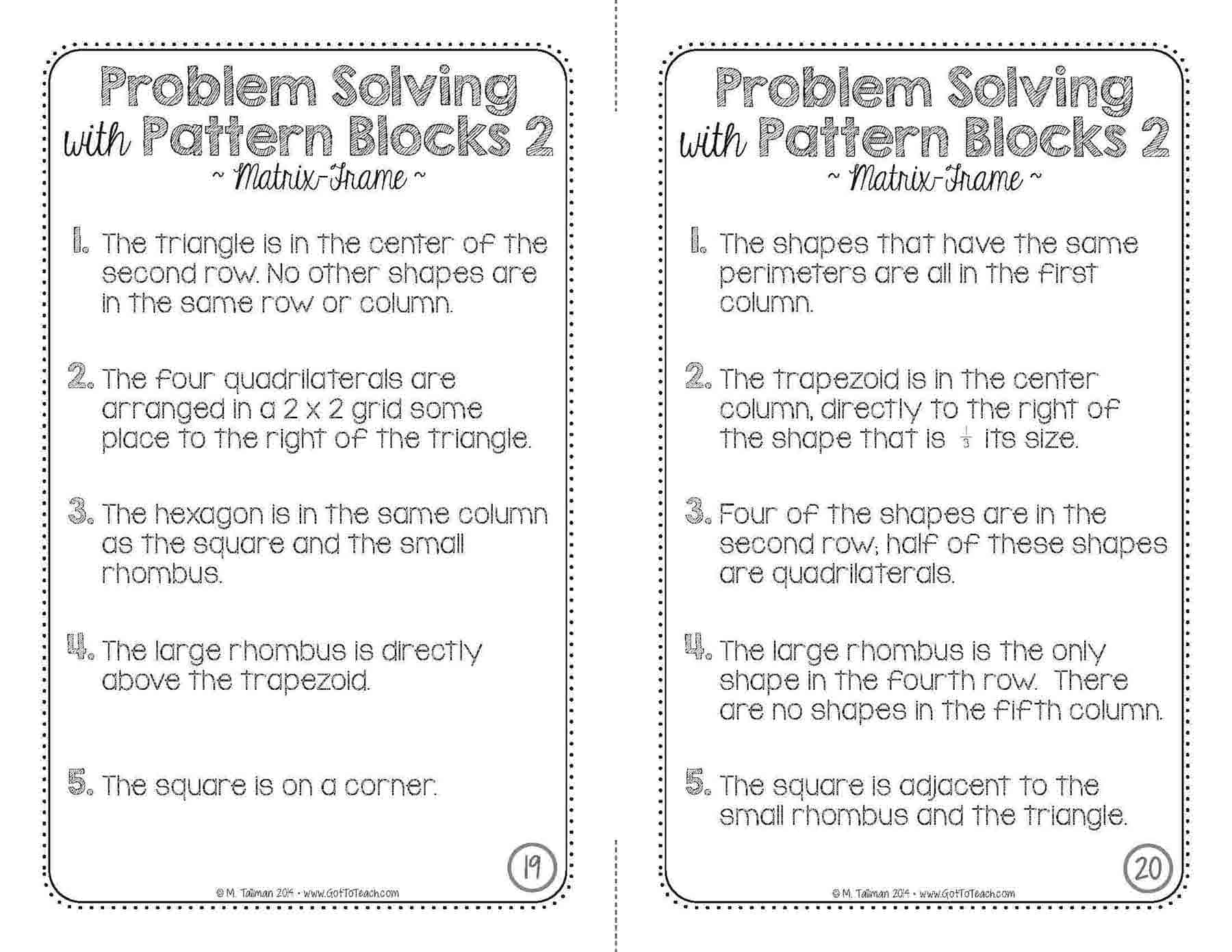 Problem Solving With Pattern Blocks 2 Teacher Thrive