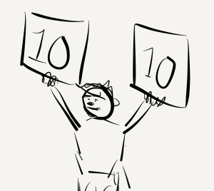 cartoon of judge awarding 10 points