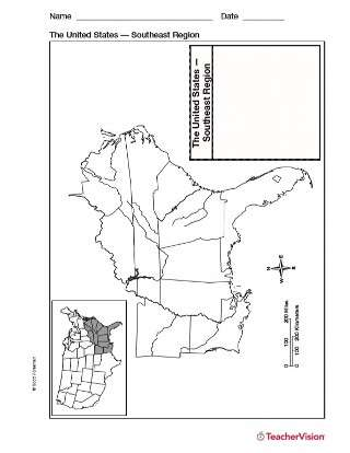 Blank Map Of Southeast United States : blank, southeast, united, states, Resources, TeacherVision