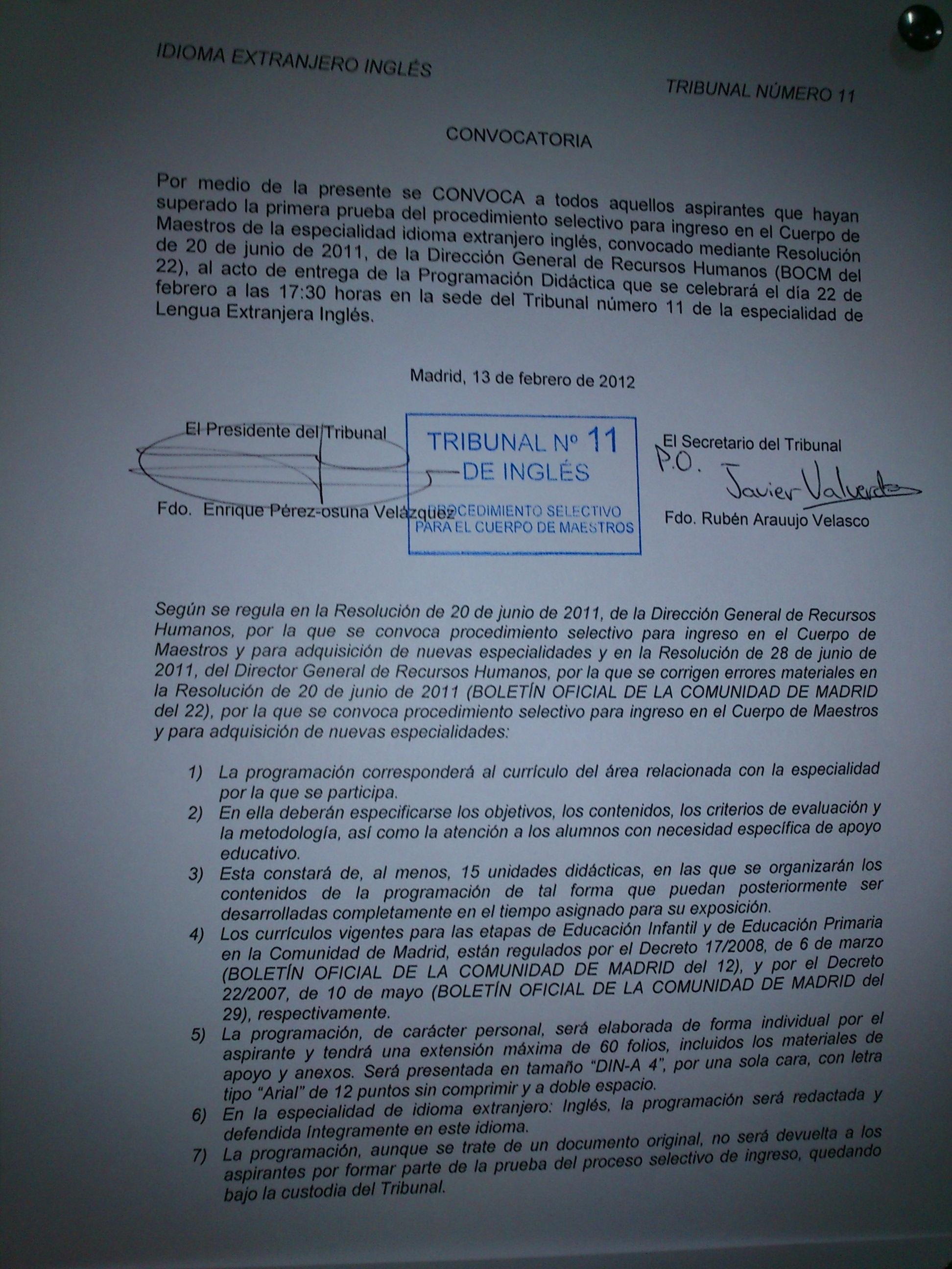 Tribunal 11 Oposiciones Madrid Maestros Especialidad