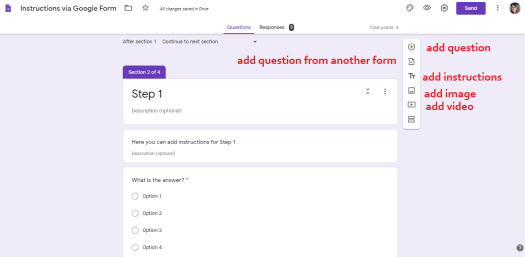 Google forms in the Classroom to give instructions