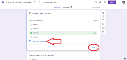 Google Forms to make Lessons - select the right answer