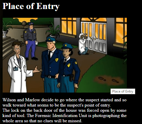 Free Forensic Science Resource - students move through a crime scene finding and learning about different types of evidence