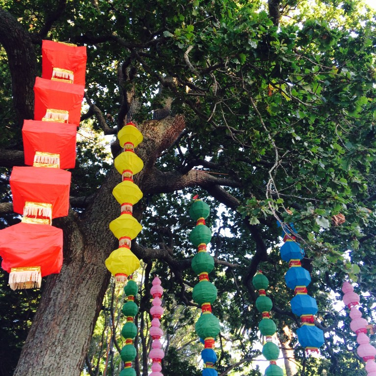 Traditional hanging lanterns. This tree was full of a rainbow of colours. So beautiful to look at!