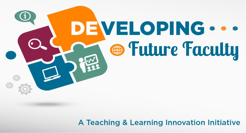 "A puzzle piece featuring varying icons with ""Developing Future Faculty"" as the heading."