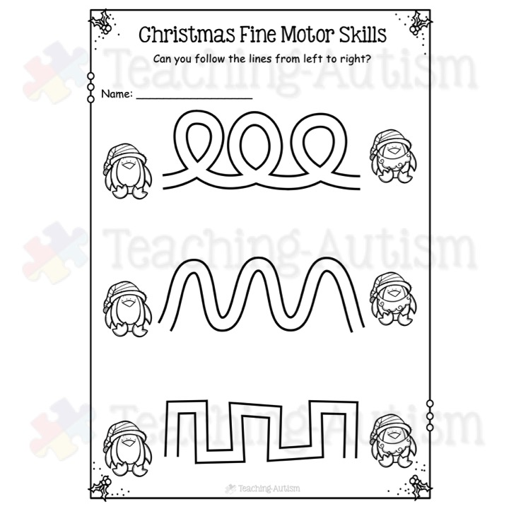 fine motor skill worksheets christmas activities teaching autism. Black Bedroom Furniture Sets. Home Design Ideas