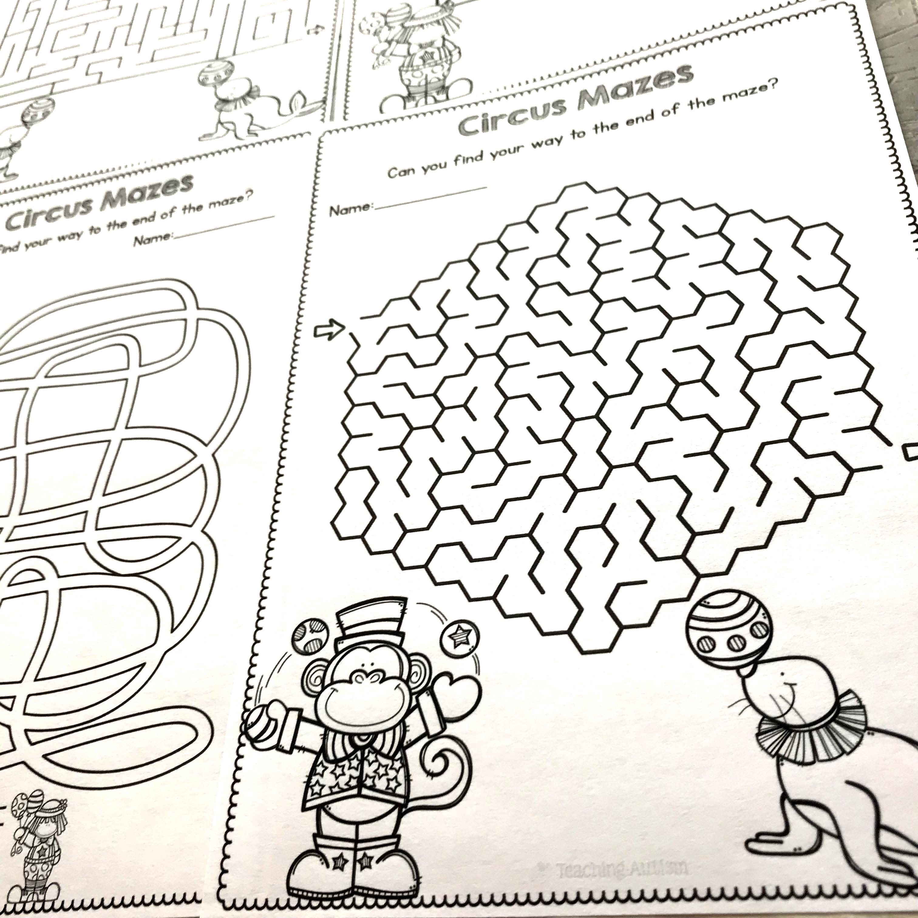 Circus Maze Worksheets No Prep Worksheets