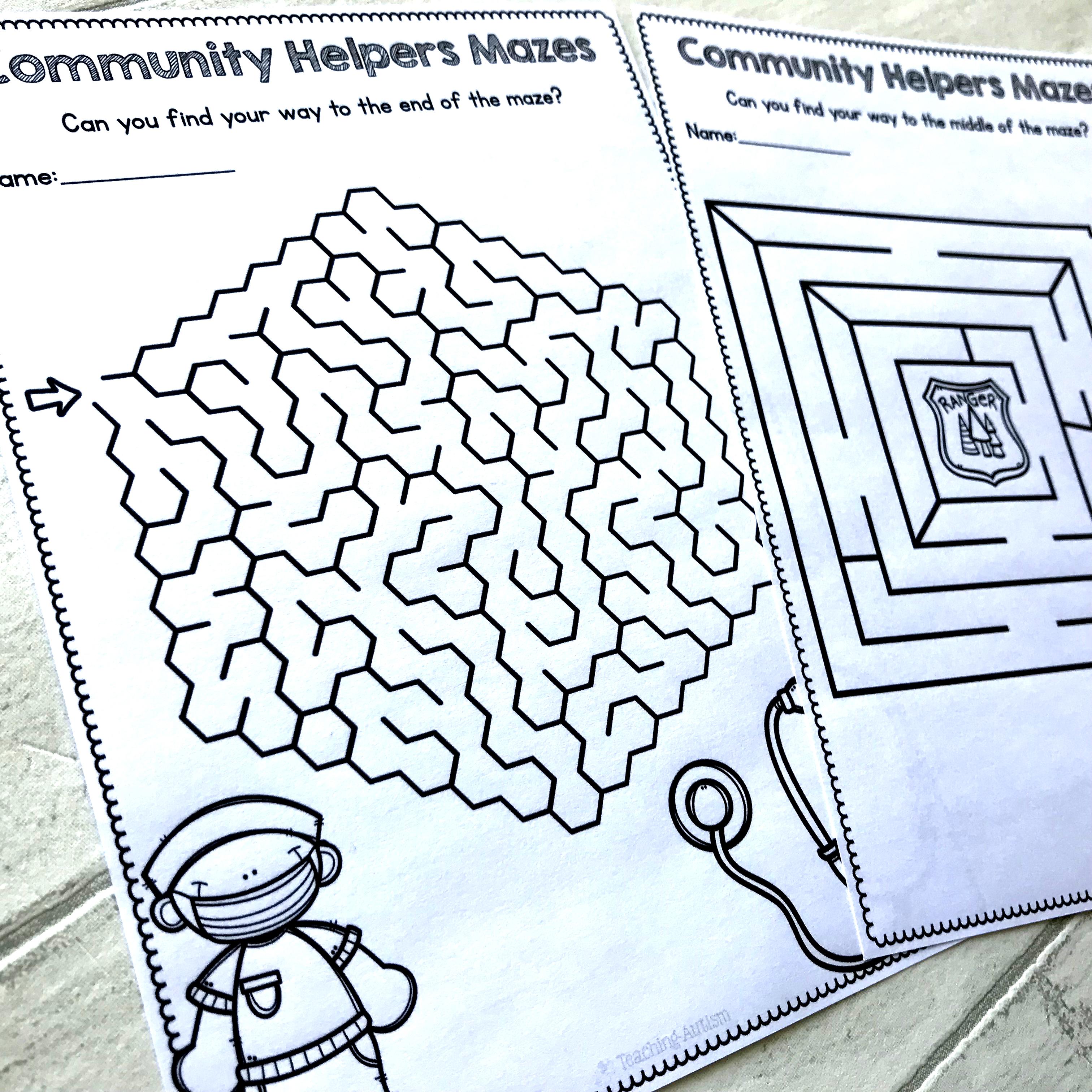 Community Helpers Maze Worksheets