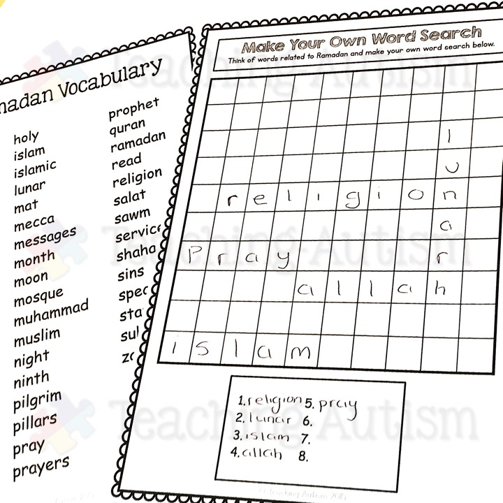Ramadan Word Search Worksheets