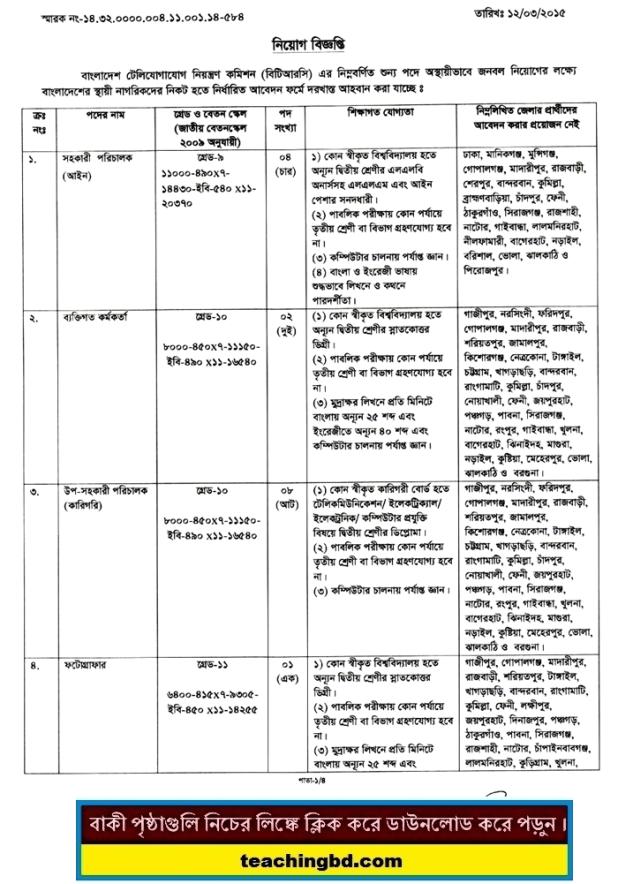 BTRC Job Circular 2015 | btrc.gov.bd