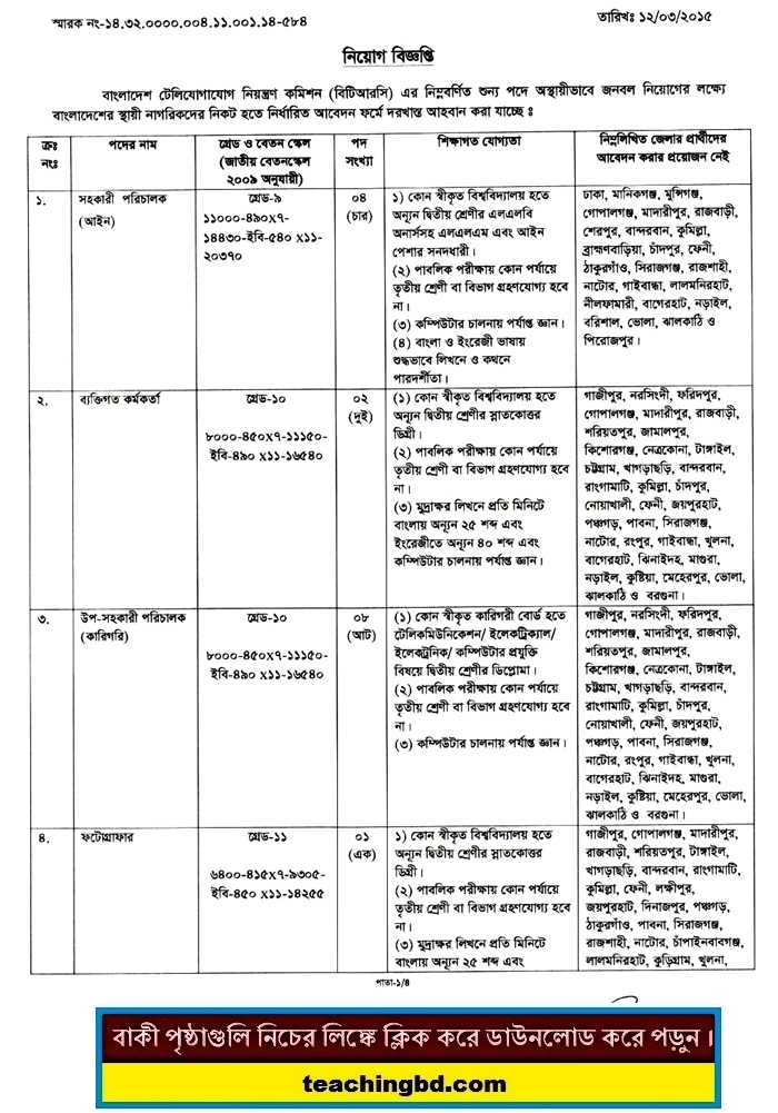 BTRC Job Circular 2015   btrc.gov.bd