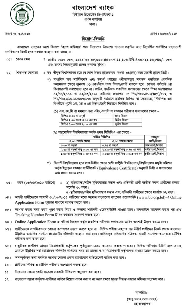 Bangladesh Bank Cash Officer Job Circular 2015