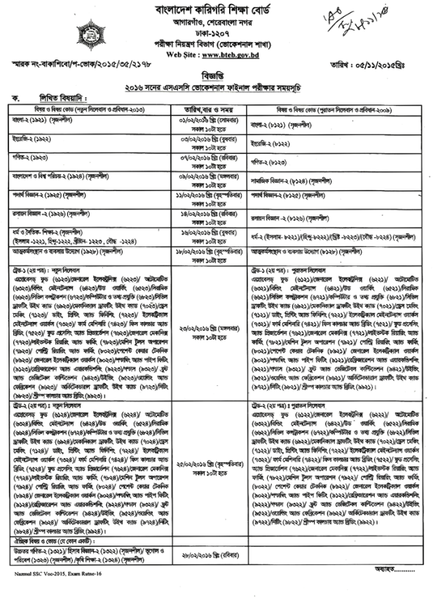SSC Vocational routine 2016