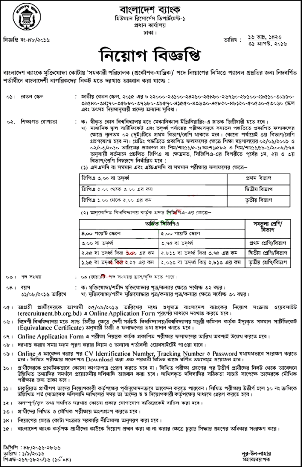 Job Circular in Bangladesh Bank
