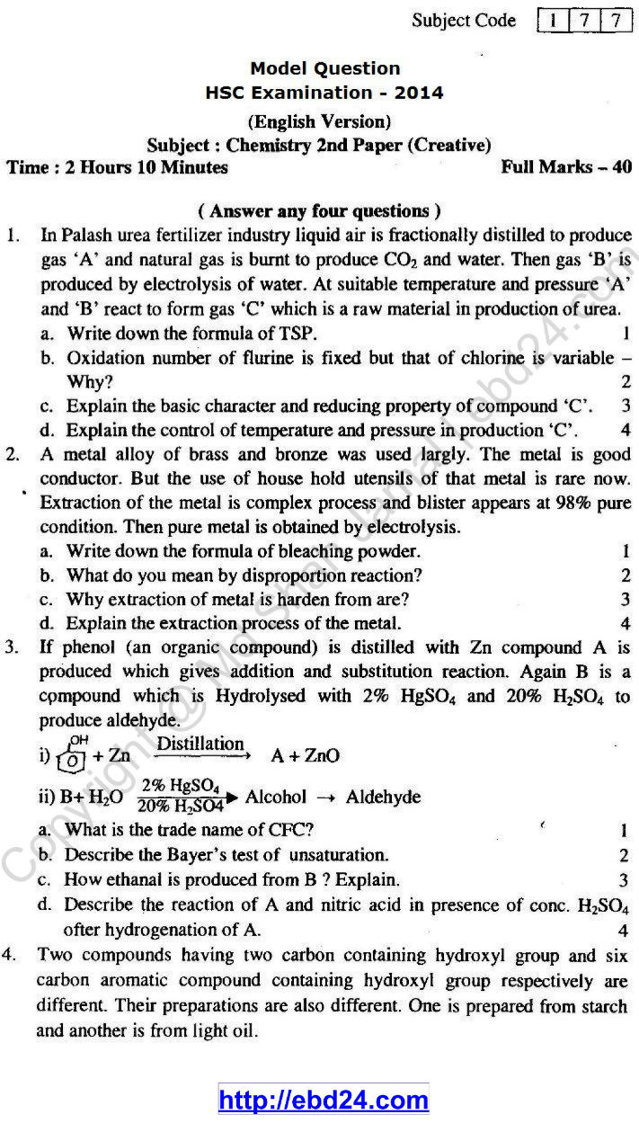 Chemistry Suggestion HSC Examination 2014 (1)