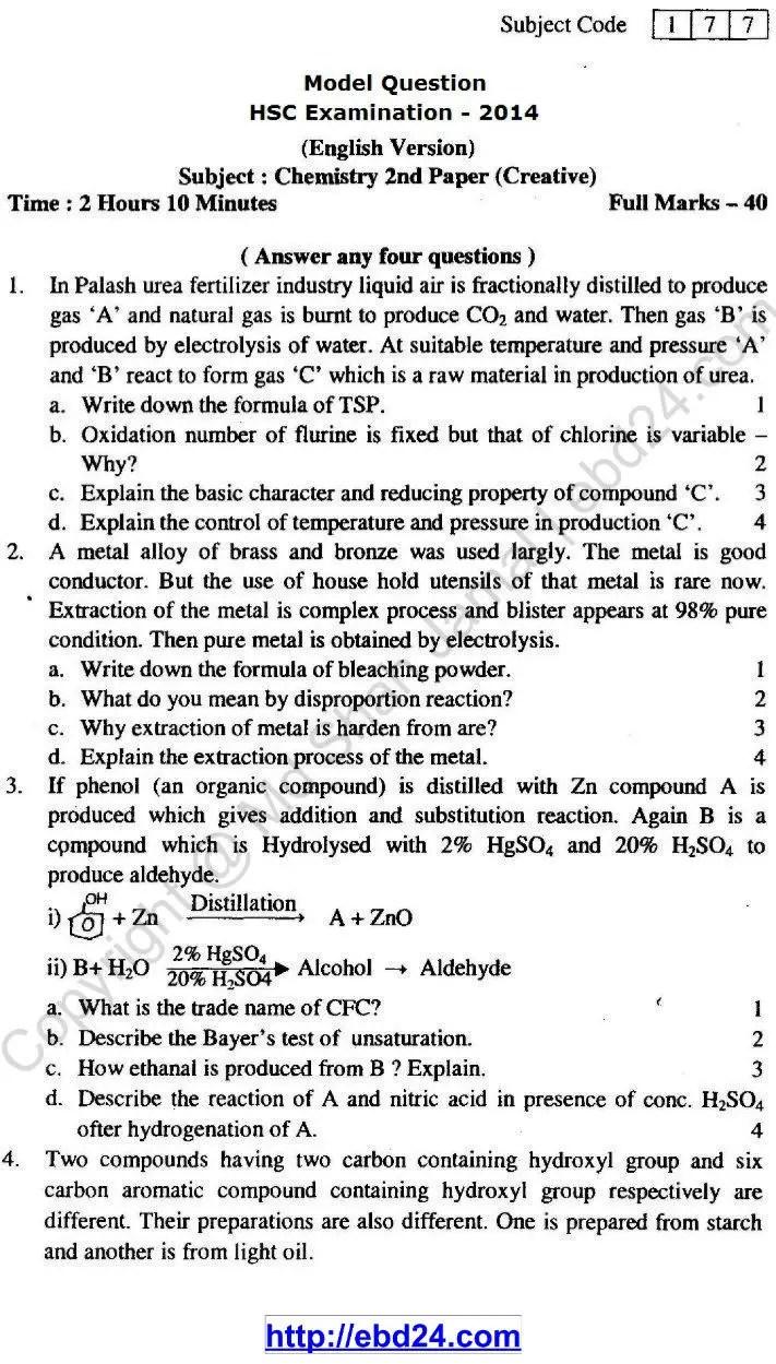 Chemistry Suggestion HSC Examination 2014 (1)