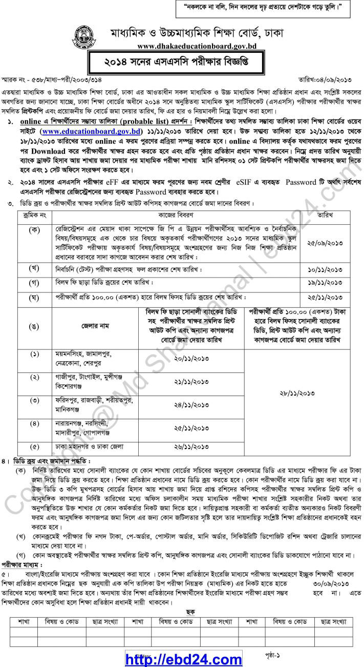 Important Notice about SSC Exam 2014 Dhaka Board