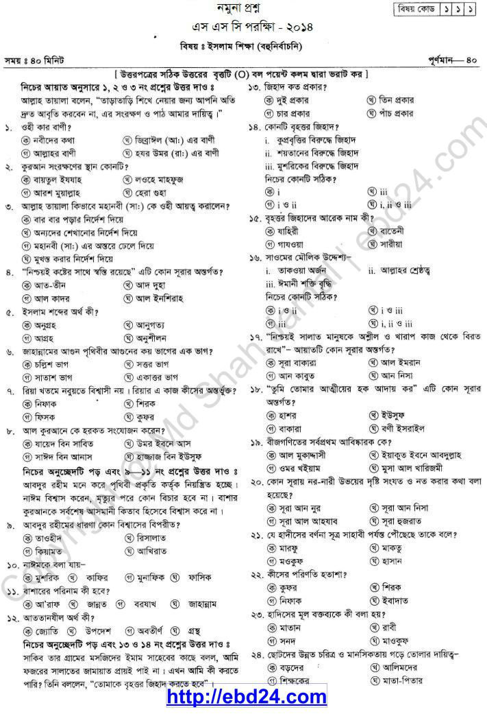 Islam Shikkha Suggestion and Question Patterns of SSC Examination 2014 (4)