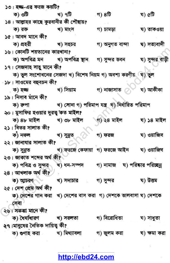 Religion Suggestion and Question Patterns of PSC Examination 2013 (2)