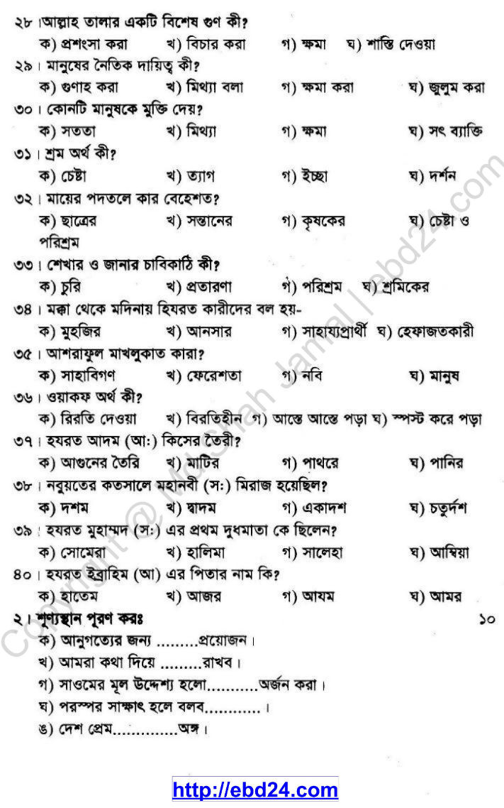Religion Suggestion and Question Patterns of PSC Examination 2013 (3)